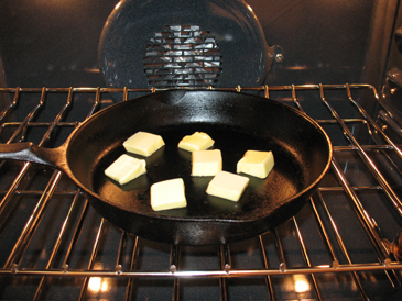 step 1, butter in cold pan