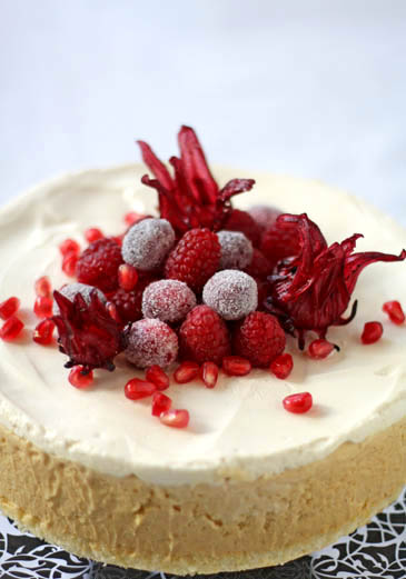 Bourbon Pumpkin Cheesecake with Sugared Cranberries! (The Apron Winner ...