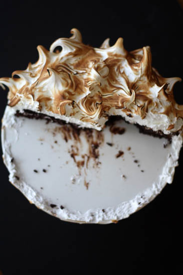 ice cream mexican chocolate ice cream cake with orange meringue