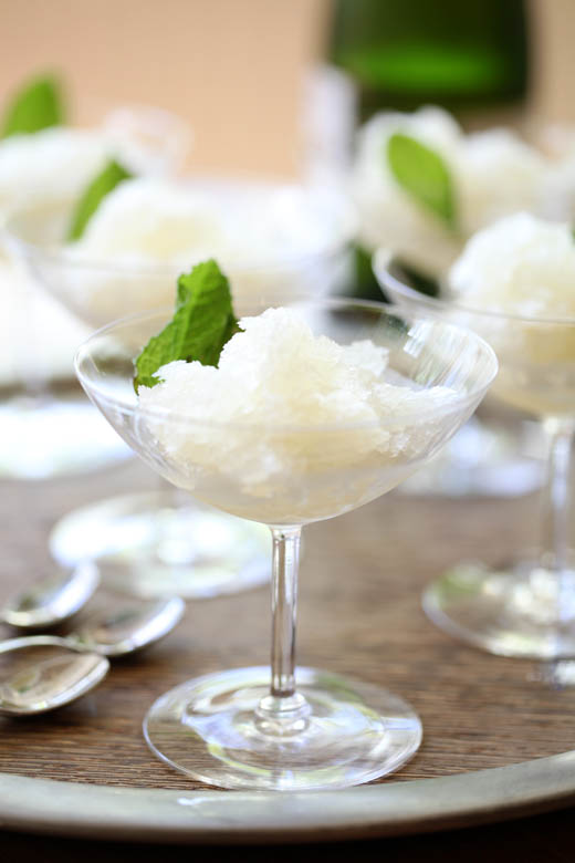 Lemon Champagne Mint Cocktails turned into Granita! – Zoe Bakes